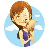 Mädchen und Haustier Stockfotos