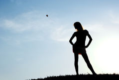 Mädchen und Himmel Lizenzfreies Stockfoto