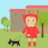 Mädchen und Hund Stock Abbildung