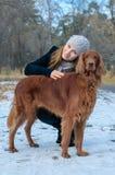 Mädchen und Hund. Lizenzfreie Stockfotos