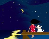Mädchen und Hund in dem Meer Stockbild