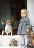 Mädchen und Hund schauen heraus das Fenster Stockbilder