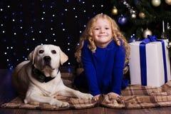 Mädchen und Hund zu Hause stehen nahe Weihnachten still Lizenzfreie Stockfotos