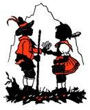 Mädchen und Junge auf der Natur Stockbilder