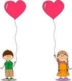 Mädchen und Junge, die einen Balloninnervektor anhalten Lizenzfreies Stockbild