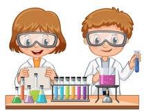 Mädchen und Junge, die Wissenschaftsexperiment tun vektor abbildung