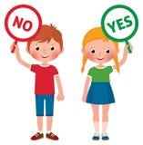 Mädchen und Junge, die Zeichen von ja und von nein zeigen lizenzfreies stockbild