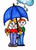 Mädchen und Junge unter einem Regenschirm Stockfoto
