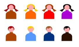 Mädchen-und Jungen-Netz-Ikone eingestellt - Wintersaison stock abbildung
