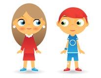 Mädchen-und Jungen-Zeichentrickfilm-Figur-Kinderikonen lizenzfreie abbildung