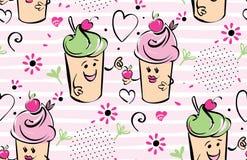 Mädchen- und JungenEiscremecharakter und Kirsche, rosa Streifen, Herzen Der Junge gibt dem Mädchen die Kirsche Nahtloses Schwarze vektor abbildung