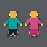 Mädchen- und Jungenikone im Blau und im Rosa Lizenzfreies Stockfoto