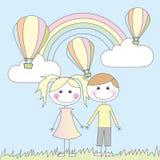 Mädchen- und Jungenkarikaturen Stockbilder