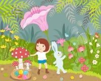 Mädchen und Kaninchen am wunderbaren Tag Lizenzfreie Stockfotos