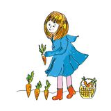 Mädchen und Karotte ernten - nettes illlustration für die Gartenarbeit Lizenzfreies Stockbild