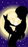 Mädchen und Katze Stockbild