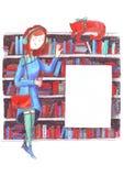 Mädchen- und Katzensitzung in einer Bibliothek nahe Bücherregalen Bleistifte übergeben gezogene Illustration auf weißem buntem Bi Lizenzfreie Stockfotos