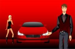 Mädchen und Mann auf einem Hintergrundauto Lizenzfreies Stockbild