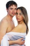 Mädchen und Mann, die zusammen stehen Lizenzfreies Stockfoto