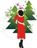 Mädchen und Pelzbaum. Weihnachtsaufbau Lizenzfreie Stockfotos