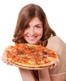 Mädchen und Pizza Stockfotos