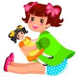 Mädchen und Puppe lizenzfreie abbildung