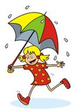 Mädchen und Regen Stockbild