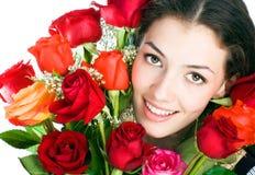 Mädchen und Rosen Stockfotos