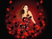 Mädchen und rote Blumen Lizenzfreie Stockfotos