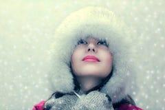 Mädchen und Schnee Stockfoto