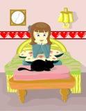 Mädchen und schwarze Katze Stockfotografie