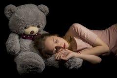 Mädchen und Teddybär Stockfoto