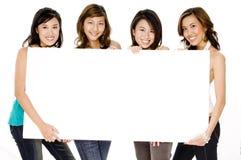 Mädchen und unbelegtes Zeichen Stockbild