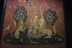 Mädchen und Unicorn Tapistry, Paris, Frankreich Lizenzfreies Stockfoto