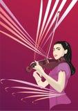 Mädchen und Violine Stockfotos