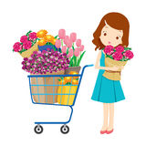 Mädchen und Warenkorb voll von Blumen Stockbilder