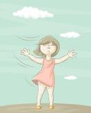 Mädchen und Wind lizenzfreie abbildung