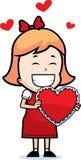 Mädchen-Valentinsgruß Stockfoto