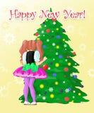 Mädchen verzieren Baum des neuen Jahres Lizenzfreie Stockbilder