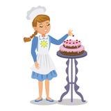 Mädchen verziert einen Kuchen mit Kirschen Nettes Karikatur-Mädchen mit Kuchen Stockfotografie