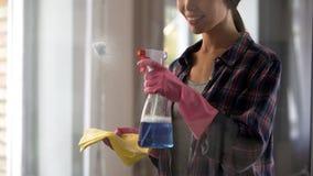 Mädchen vom Reinigungsservice, der Reinigungsmittel an den staubigen Glasoberflächen anwendet Stockbild