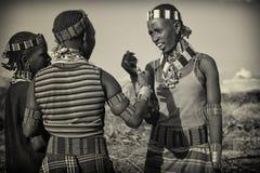 Mädchen von Hamer-Stamm, Äthiopien, Afrika stockbild