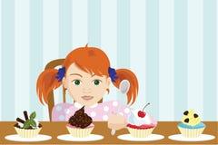 Mädchen wählen einen Kuchen lizenzfreie abbildung