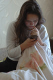 Mädchen wachte gerade auf Lizenzfreie Stockbilder
