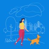 Mädchen-Weg mit Haustier im Park Sommerzeit in der Stadt stock abbildung