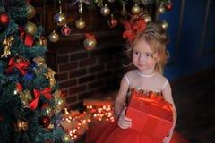 Mädchen am Weihnachtsbaum in einem roten eleganten Kleid mit einem Kasten mit Geschenken in ihren Händen lizenzfreies stockbild