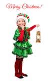 Mädchen-Weihnachtselfe mit Öllampe über Weiß Stockfotos