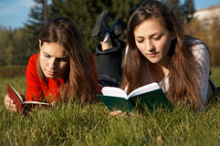 Mädchen, welche die Bücher auf dem Rasen lesen Stockbild