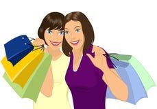 Mädchen, welches das Einkaufen tut stock abbildung