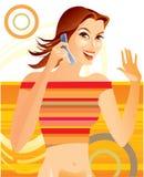 Mädchen whith Telefon Stockbild